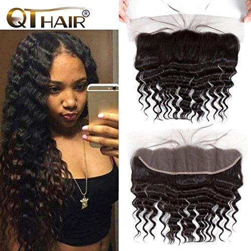 Loose Swiss - QTHAIR 10A Ear To Ear 13x4 Loose Deep Wave Frontal Closure Peruvian Hair(20