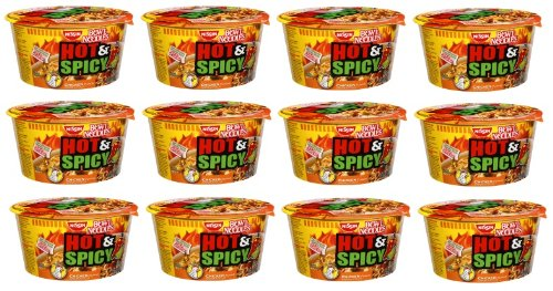 Nissin Bowl Noodles HOT & Spicy CHICKEN Flavor Microwavable and Spoonable Noodles & Soup with Og Trans FAT for Best in Ramen Instant Noddle Soup- 12 Pack of 3.32 Oz Cups