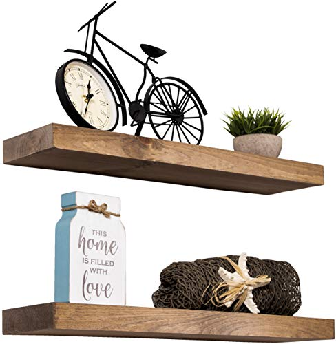 Imperative Décor Floating Shelves Rustic Wood Wall Shelf USA Handmade | Set of 2 (Walnut, 24