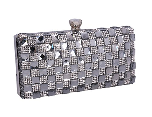 (Adoptfade Womens Beaded Rhinestone Evening Clutch Sparkly metal Frame Bag,Grey )
