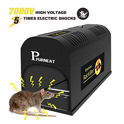 P PURNEAT Electronic Rat Trap, Mouse Rodent Traps Electronic,High Voltage Emitting,Effective and Powerful Killer for Rat,Squirrels Mice and Similar Rodent【2018 Upgraded】 Humane Rodent Zapper.