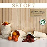 Organic cotton muslin bag Set of 7 Produce Bags GOTS Approved Reusable snack ...