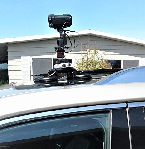 Video Camera Mount Car Rooftop with Wireless Remote Control 360° Pan 180° Tilt Device(Camera Not Included)