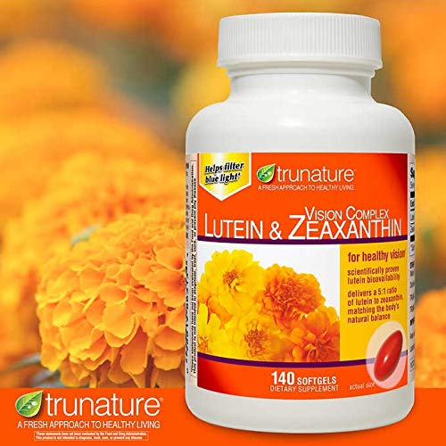 Trunature Vision Complex Lutein and Zeaxanthin Supplement, 140 Softgels by TruNature