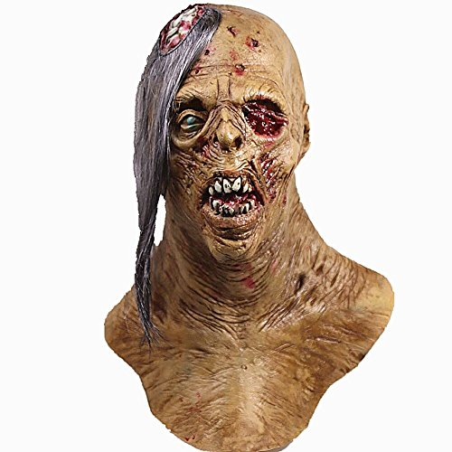 molezu Cyclops Zombie Mask with Exposed Brain, Blood Horror Mask, Latex Biochemical Virus Mask Suit for Costume Party Halloween ()