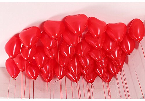 Dailyshops 12'' Heart Shape Latex Balloons 100pcs/pack(Red) -