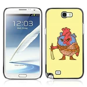 CQ Tech Phone Accessory: Carcasa Trasera Rigida Aluminio Para Samsung Galaxy Note 2 N7100 - Funny Brave Heart Illustration