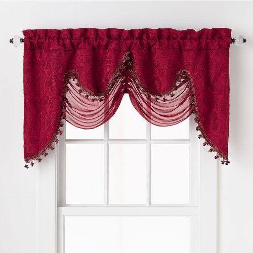 HLC.ME Portofino Burgundy Jacquard Curtain Valances - 52