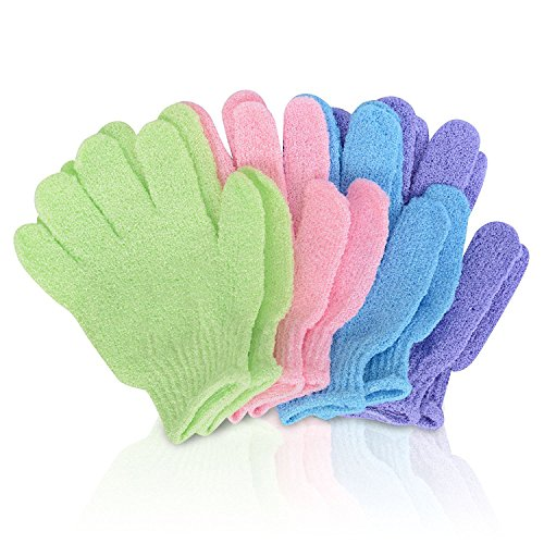 SmitCo Exfoliating Shower Bath Gloves for Men & Women Removes Dead Skin Cells, Leaving Your Skin Glowing & Improve Blood Circulation, 2 Pairs (Colors May Vary)