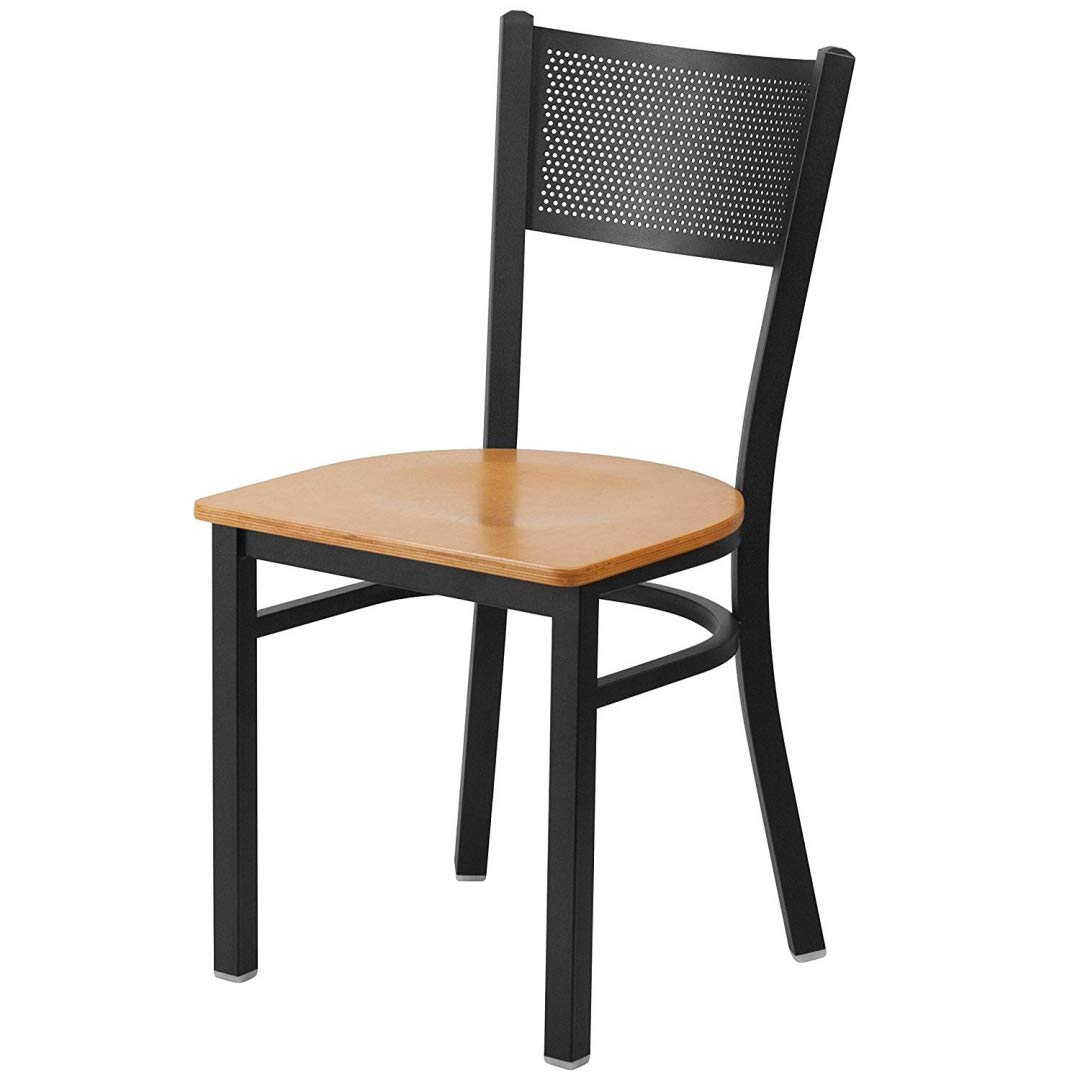 Modern Style Metal Dining Chairs School Bar Restaurant Commercial Seats Grid Back Design Powder Coated Frame Finish Home Office Furniture - (1) Natural Wood Seat #2150