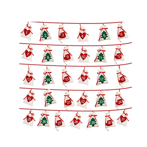 Christmas Advent Calendar 24 Day/ 31 Day Countdown Hanging Advent Calendar Gift Bags Fabric Xmas Garland DIY Christmas Decorations Home Door Wall Xmas New Year Hanging Ornament (31 Days)