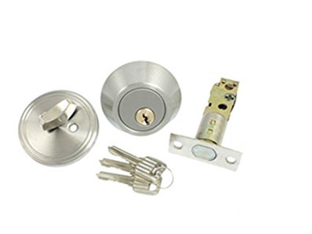 Home Door Locking Security Single Cylinder Deadbolt Lock Silver Tone