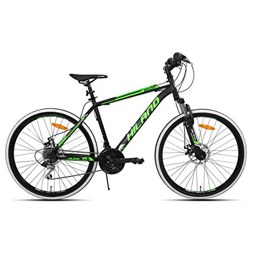 Hiland Mountain Bike, 26'' Inch Bicycle MTB with Shimano 21 Speeds, Suspension Fork Commuter Bike, Black Disc 26' Mtb Wheels