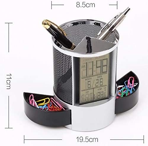 Vaorwne Mesh Pen Pencil Holder with Digital LCD Office Desk Clock with Time Temp Calendar Function Blue