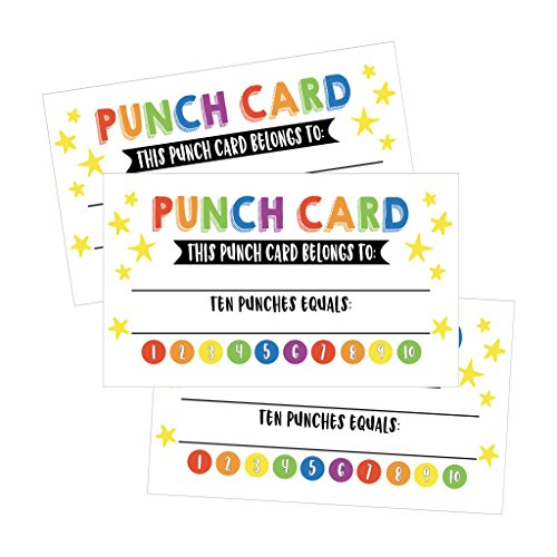 25 Rewards Punch Cards For Kids, Students, Teachers, Classroom, Business, Chores, Reading Incentive Awards For Teaching Reinforcement or Home Education Class Supplies Loyalty Encouragement Work Supply -