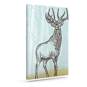 "Kess InHouse Sam Posnick ""Elk Scene"" Outdoor Canvas Wall Art, 10 by 12-Inch"
