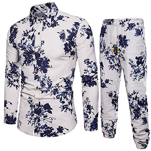 Top+Pants Suit Men Business Slim Fit Outfits Print Linen Tracksuit]()