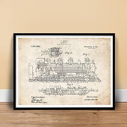 VINTAGE STEAM LOCOMOTIVE 1915 US PATENT ART PRINT BENNETT TRAIN ENGINE GIFT UNFRAMED (5 x 7) by Steves Poster Store - Locomotive Train Phone