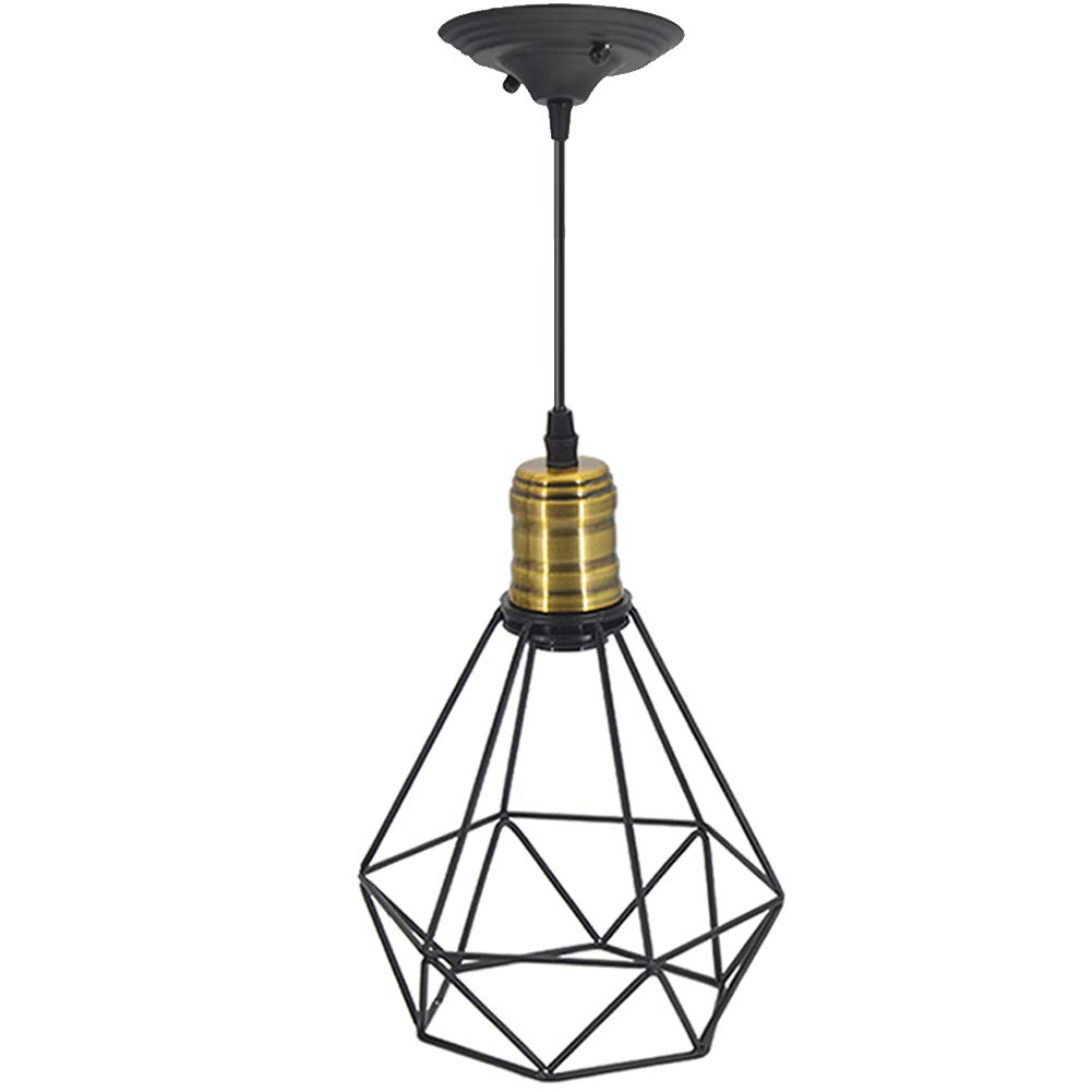 Kitchen Island Pendant Lighting Oil Rubbed Bronze Vintage Wire Pendant Light Cage Polygon Style Chandelier Art Deco for Kitchen-island, Hallway, Dining-room, Cafe, Bar Black