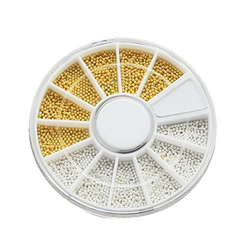 Taiguang Metal Beads Wheel Glitter Decal DIY Studs Nail Art Decorations (Golden + ()