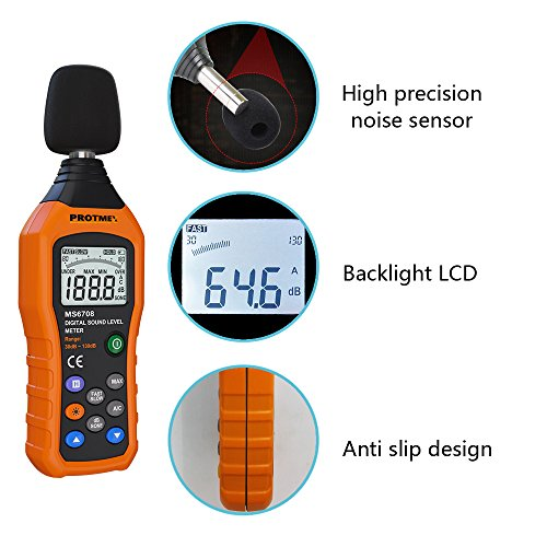 Digital Sound Level Meter, Protmex MS6708 Portable Digital Decibel Sound Level Meter Reader, Measurement Range 30-130 dBA, Accuracy 1.5dB, Noise Meter With Large LCD Screen Display Fast/Slow Selection by Protmex (Image #4)