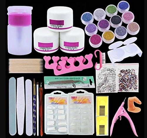Professional Acrylic Nail Art Kit Acrylic Powder Glitter French False Nail Tips Files Nail Art Decoration Tools Acrylic Nail Set for Beginner