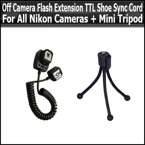 UPC 628586121768, Off Camera Flash Extension TTL Shoe Sync Cord For All Nikon Cameras + Mini Tripod