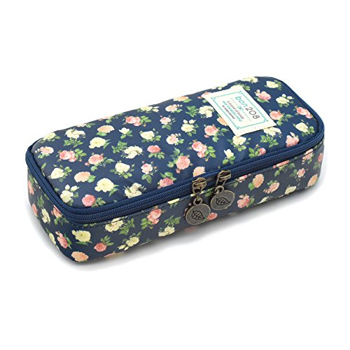 Pencil Case, Twinkle Club Pen Bag Makeup Pouch Zipper Box Office Organizer Rose Floral, Cyan