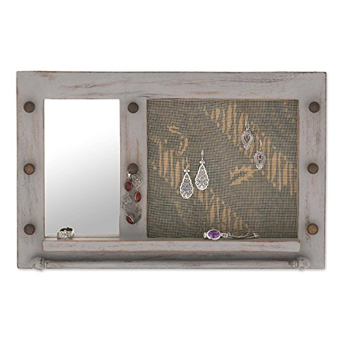NOVICA White Cotton Wood Batik Jewelry Display Organizer with Mirror 'Bali Heritage In Grey'