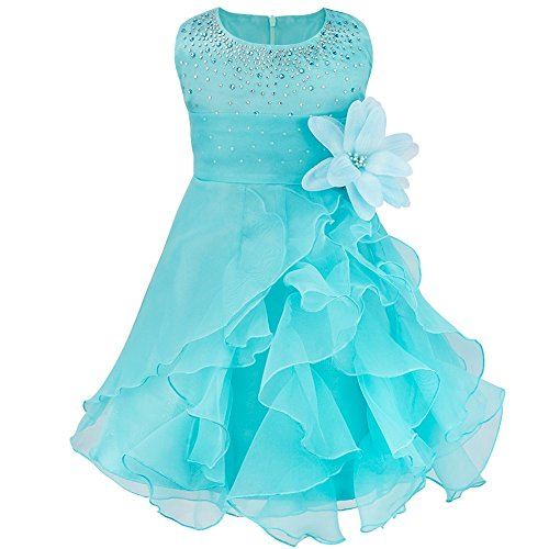 TiaoBug Baby Girls Organza Rhinestone Wedding Birthday Party Flower Girl Dress Pageant Baptism Christening Gown Blue 3T