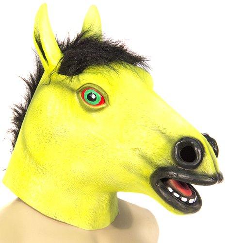 HMS Men's Blacklight Responsive Horse Mask, Fluorescent Lime, One Size