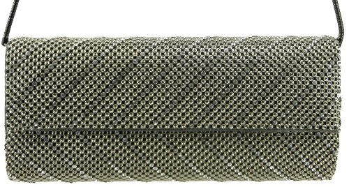 Whiting & Davis  Crystal Chevron Flap Clutch,Pewter,One Size