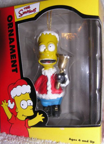 (Simpsons Bart Simpson Ringing Bell in Santa Suit Christmas Ornament 2002)