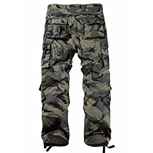 AKARMY Must Way Men's Cotton Casual Military Army Camo Combat Work Cargo Pants with 8 Pockets