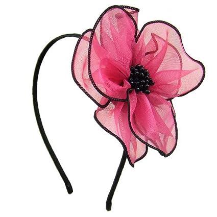 93-401 - Cerchietto per capelli cerimonia metallo cm 0, 5 con maxi fiore viscosa cm 11 ca - Cerchietti per capelli (Nero) Righe e Pois