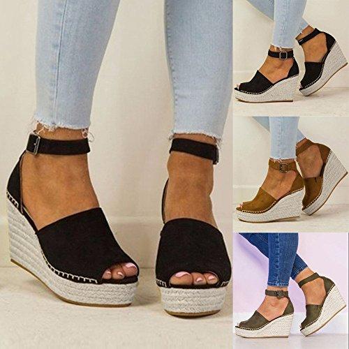 Femmes Chaussures Talons De Boucles La Pour Sandales Superficielle gongzhumm Simples Mode Bouche Souliers Hauts À Ete Vert w8x4Iqd
