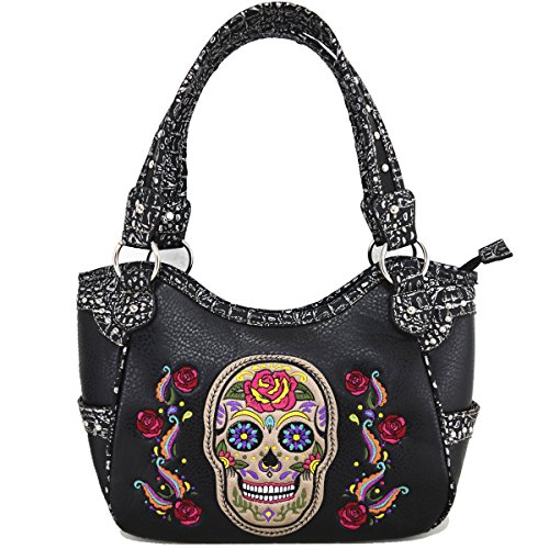 black bandoulière à bag Sac Messenger à Sac Skull main Black zpxqxAS