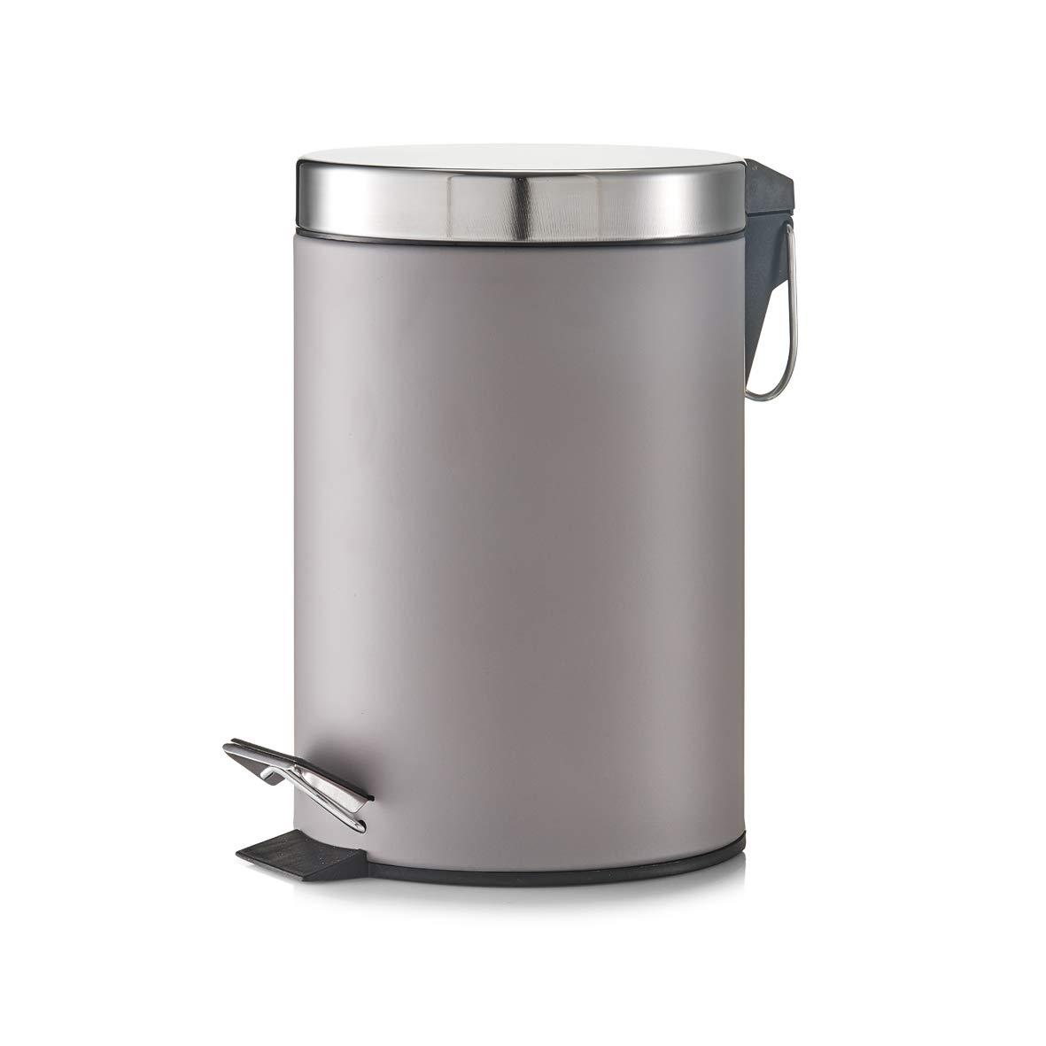 Zeller 18222 - Cubo de basura con pedal, ø17 cm, altura 26 cm, 3 litros, color gris oscuro metalizado: Amazon.es: Hogar