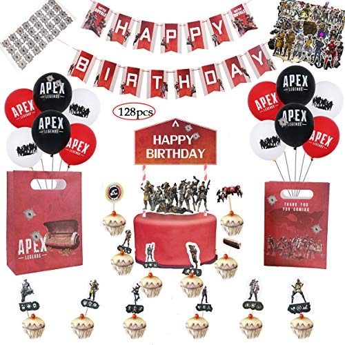 Price comparison product image APEX Party Supplies - Party Decoration and Favors,  Including 12 Balloons,  a Happy Birthday Banner,  a Cake Topper,  24 Cup Cake Topper,  2 Goody Bags 55 pcs APEX Stikers and 32 DIY Bullet Hole Stikers,  G
