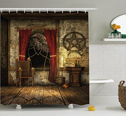Ambesonne Gothic House Decor Shower Curtain Set, Pentagram Symbol in Candlelight Red Curtains in Mystical Medieval Chamber Spiritual, Bathroom Accessories, 75 Inches Long, Brown