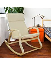 Haotian FST15-W Comfortable Relax Rocking Chair,Lounge Chair Relax Chair with Fabric Cushion