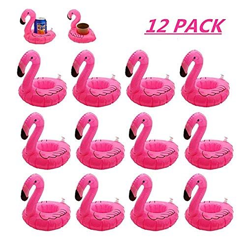 Inflatable Floating Flamingo Drink Holder 12 Pack Swimming Pool Float Coasters Coke Cup Holder for Beverage Cans Cups & Bottles - Fun Kid & Adult Pool Party