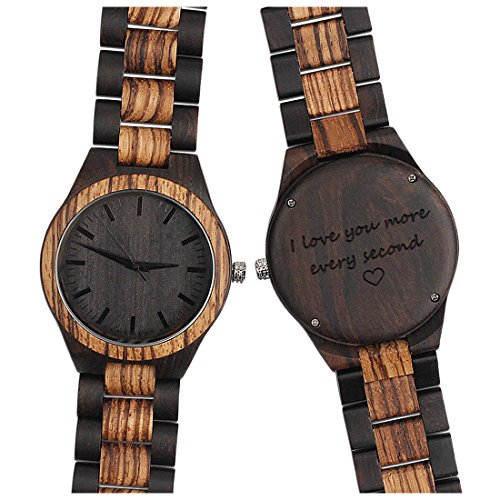 Engraved Wood Watches for Men - Natural Wooden Wrist Watch - Groomsmen Gifts for Men - Personalized Wedding Anniversary Gift for Men (506-2-FBA) by KOSTING