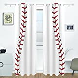 Bettken Baseball Photo Custom Polyester Fiber Darkening Window Curtains for Living Room Decor Thermal Insulated Blackout Drapes with Grommet for Bedroom(2 Panel,H84 x W55 in)
