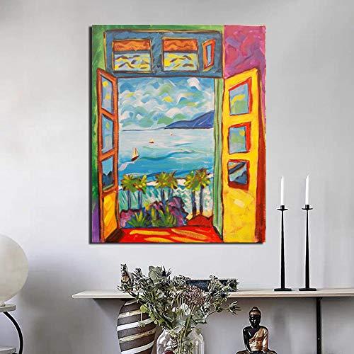 DHLHL Famoso Pintor Matisse Pintura de Paisaje Arte de Pared poster e Impresiones Lienzo Pintura Imagen Decorativa para habitacion decoracion del hogar 50x70 cm sin Marco