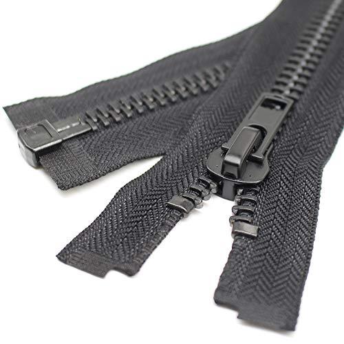 YaHoGa #10 26 Inch Black Nickel Separating Jacket Zipper Y-Teeth Metal Zipper Heavy Duty Metal Zippers for Jackets Sewing Coats Crafts (26