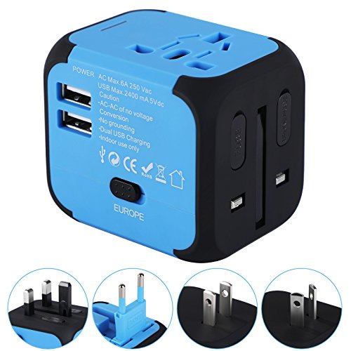 Dewenwils Universal Travel Adapter with 2.4A Dual USB Charger, All in One Worldwide AC Power Adapter Outlets for Europe UK US AU with Zipper Case and Spare Fuse