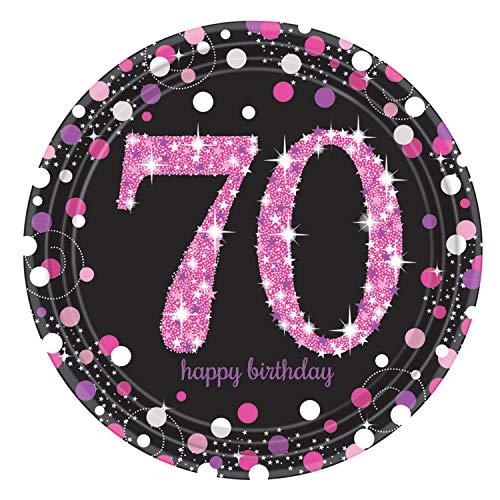 Amscan International 9901746 23 cm Pink Celebration 70th Prismatic Paper ()