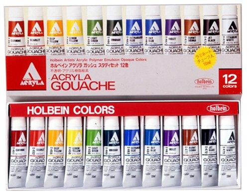 Holbein Acryla Gouache Study Set, 12 colors - 10ml tubes
