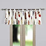 Finely Stitched Window Treatments Tab Top Curtains Valance Lined Lodge Log Cabin Style Feather Print Design Ivory Red Grey 84 Inch Wide- Includes Bed Sheet Straps